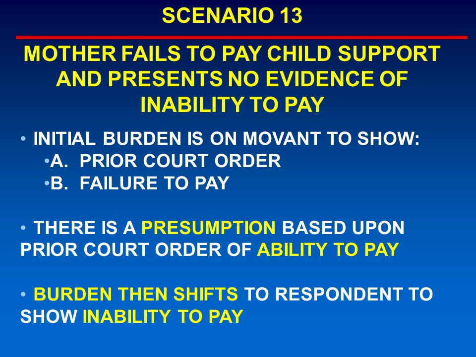 INITIAL BURDEN IS ON MOVANT TO SHOW: A.PRIOR COURT ORDER B.FAILURE TO PAY THERE IS A PRESUMPTION BASED UPON PRIOR COURT ORDER OF ABILITY TO PAY BURDEN