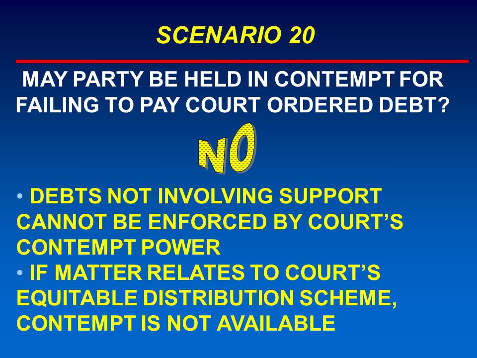 SCENARIO 20 MAY PARTY BE HELD IN CONTEMPT FOR FAILING TO PAY COURT ORDERED DEBT? DEBTS NOT INVOLVING SUPPORT CANNOT BE ENFORCED BY COURT'S CONTEMPT PO