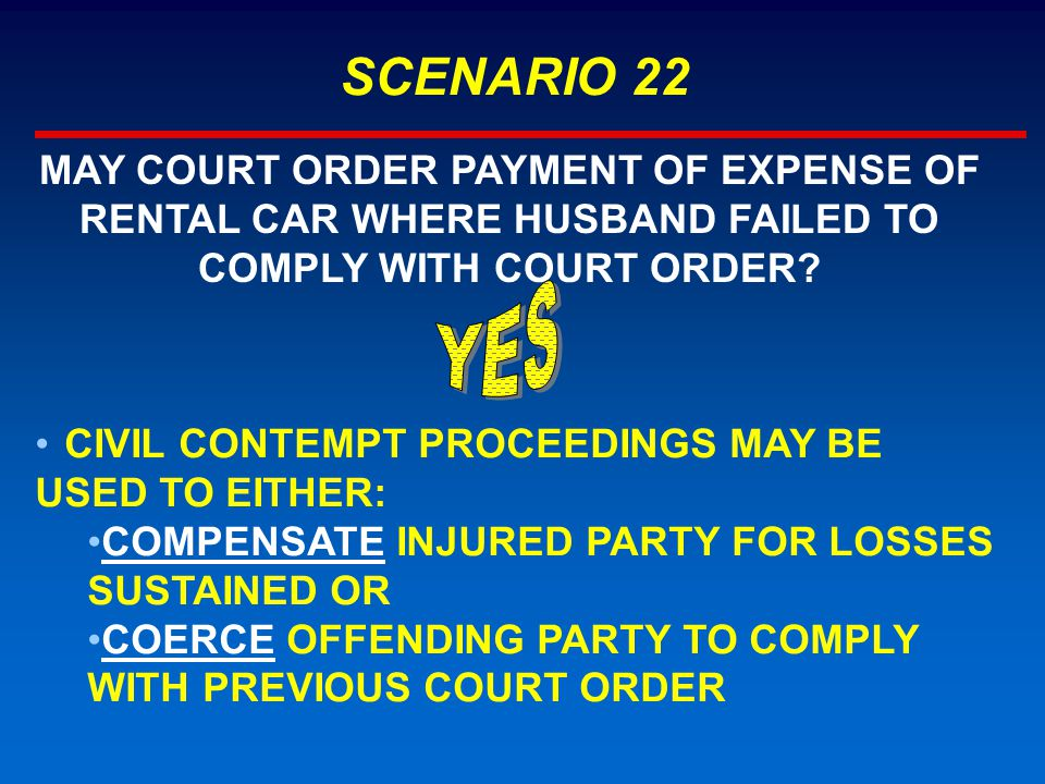 SCENARIO 22 MAY COURT ORDER PAYMENT OF EXPENSE OF RENTAL CAR WHERE HUSBAND FAILED TO COMPLY WITH COURT ORDER.