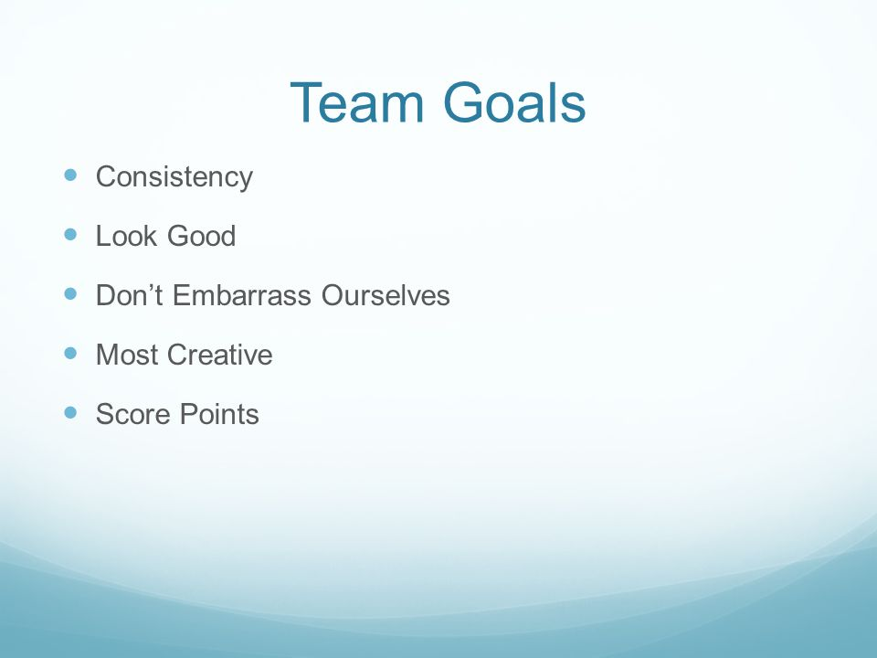Team Goals Consistency Look Good Don't Embarrass Ourselves Most Creative Score Points