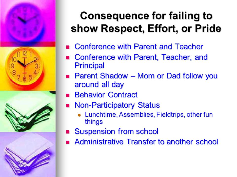 Consequence for failing to show Respect, Effort, or Pride Conference with Parent and Teacher Conference with Parent and Teacher Conference with Parent, Teacher, and Principal Conference with Parent, Teacher, and Principal Parent Shadow – Mom or Dad follow you around all day Parent Shadow – Mom or Dad follow you around all day Behavior Contract Behavior Contract Non-Participatory Status Non-Participatory Status Lunchtime, Assemblies, Fieldtrips, other fun things Lunchtime, Assemblies, Fieldtrips, other fun things Suspension from school Suspension from school Administrative Transfer to another school Administrative Transfer to another school