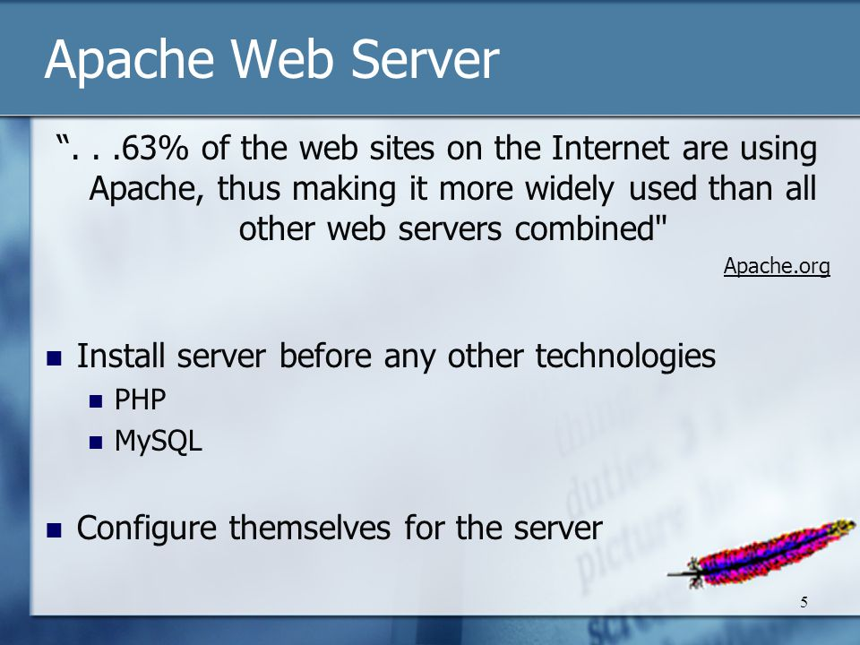 5 Apache Web Server ...63% of the web sites on the Internet are using Apache, thus making it more widely used than all other web servers combined Apache.org Install server before any other technologies PHP MySQL Configure themselves for the server
