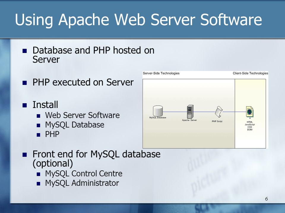 6 Using Apache Web Server Software Database and PHP hosted on Server PHP executed on Server Install Web Server Software MySQL Database PHP Front end for MySQL database (optional) MySQL Control Centre MySQL Administrator