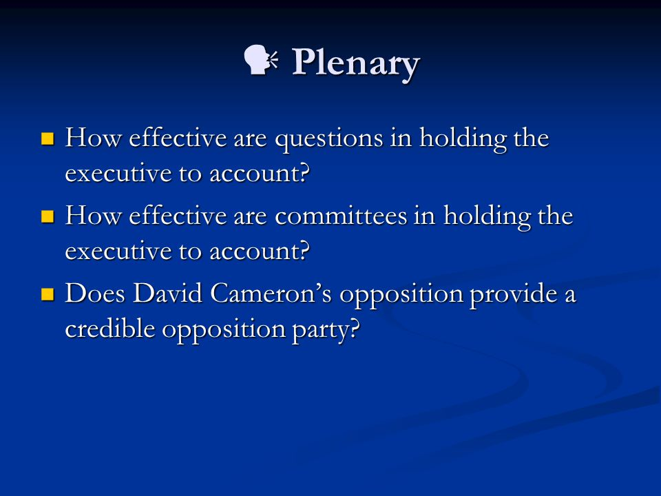Plenary Plenary How effective are questions in holding the executive to account.