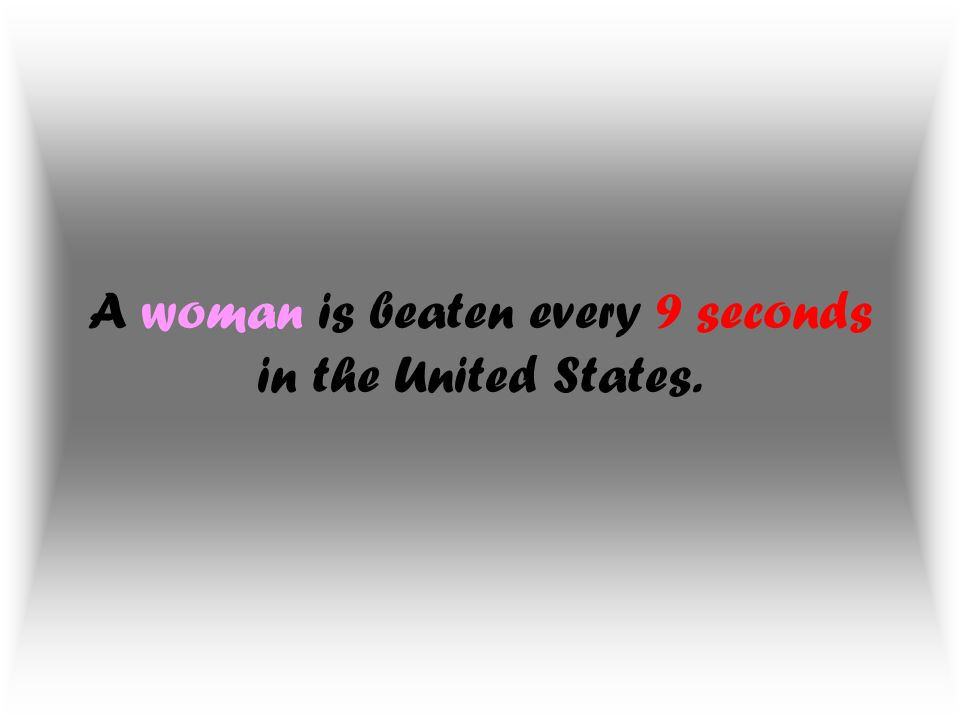 A woman is beaten every 9 seconds in the United States.