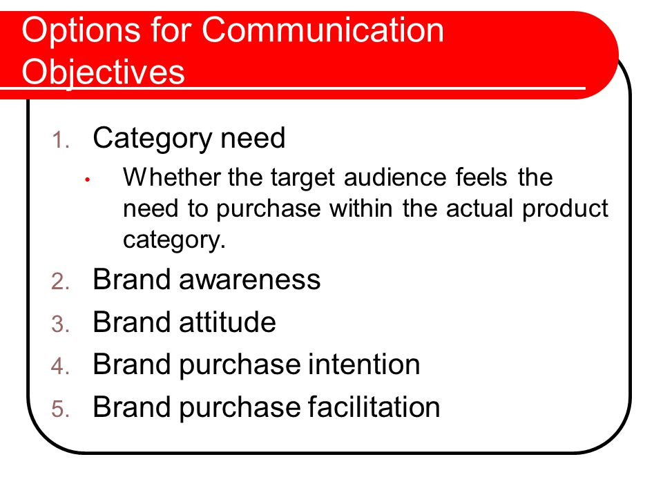 Options for Communication Objectives 1.