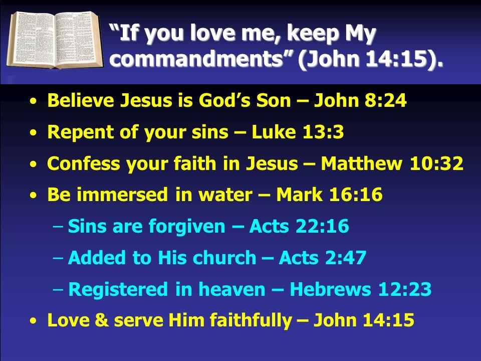 If you love me, keep My commandments (John 14:15).