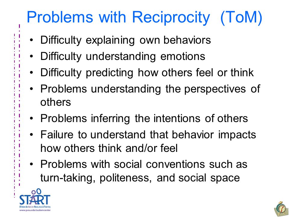 Problems with Reciprocity (ToM) Difficulty explaining own behaviors Difficulty understanding emotions Difficulty predicting how others feel or think Problems understanding the perspectives of others Problems inferring the intentions of others Failure to understand that behavior impacts how others think and/or feel Problems with social conventions such as turn-taking, politeness, and social space