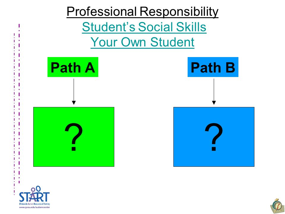 Professional Responsibility Student's Social Skills Your Own StudentStudent's Social Skills Your Own Student Path APath B