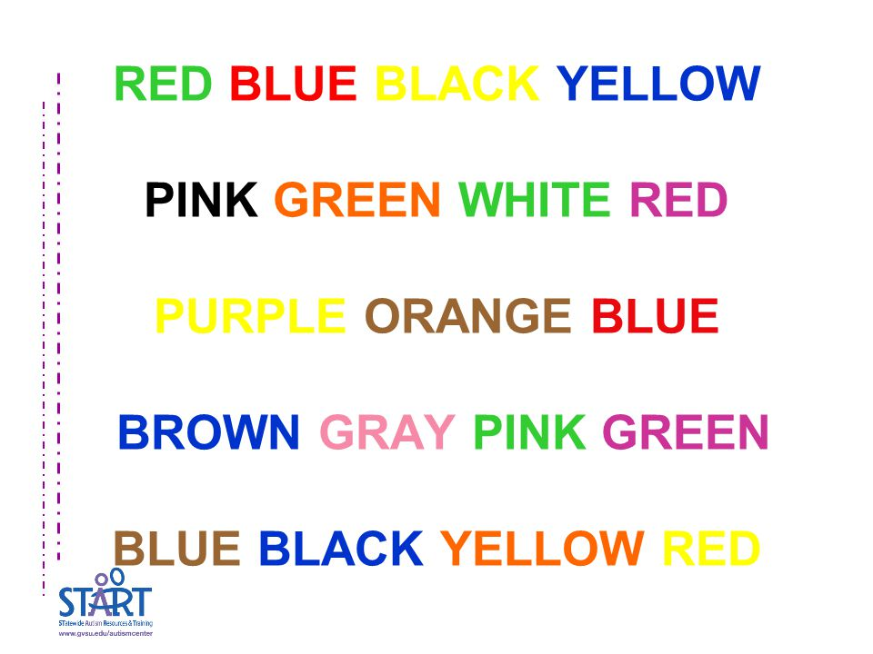 RED BLUE BLACK YELLOW PINK GREEN WHITE RED PURPLE ORANGE BLUE BROWN GRAY PINK GREEN BLUE BLACK YELLOW RED