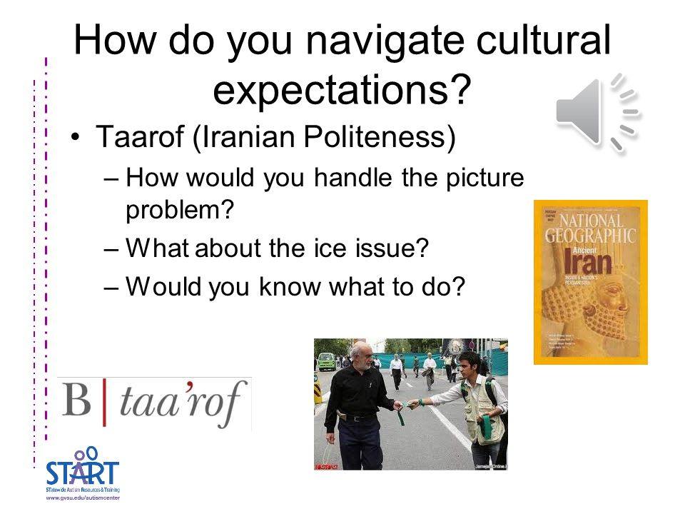 How do you navigate cultural expectations? Taarof (Iranian Politeness) –How would you handle the picture problem? –What about the ice issue? –Would yo