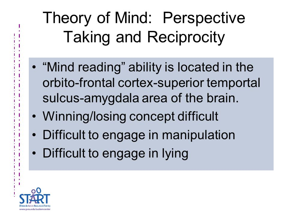 """Theory of Mind: Perspective Taking and Reciprocity """"Mind reading"""" ability is located in the orbito-frontal cortex-superior temportal sulcus-amygdala a"""