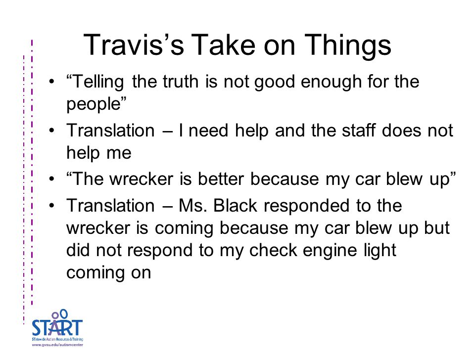 Travis's Take on Things Telling the truth is not good enough for the people Translation – I need help and the staff does not help me The wrecker is better because my car blew up Translation – Ms.