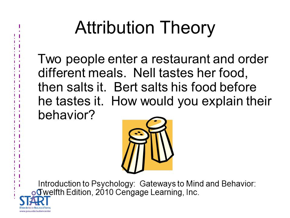 Attribution Theory Two people enter a restaurant and order different meals.