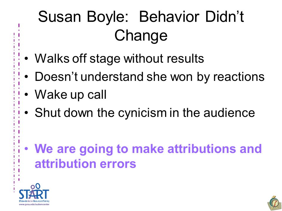 Susan Boyle: Behavior Didn't Change Walks off stage without results Doesn't understand she won by reactions Wake up call Shut down the cynicism in the audience We are going to make attributions and attribution errors