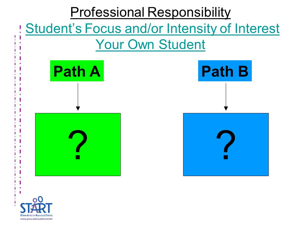 Professional Responsibility Student's Focus and/or Intensity of Interest Your Own StudentStudent's Focus and/or Intensity of Interest Your Own Student