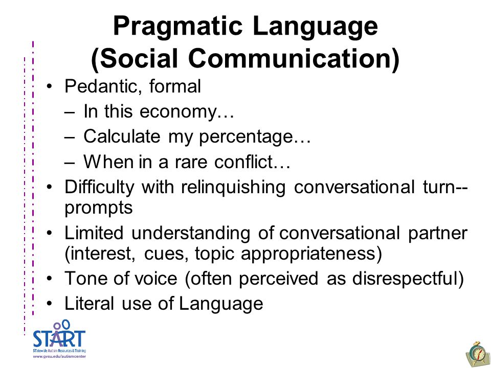 Pragmatic Language (Social Communication) Pedantic, formal –In this economy… –Calculate my percentage… –When in a rare conflict… Difficulty with relinquishing conversational turn-- prompts Limited understanding of conversational partner (interest, cues, topic appropriateness) Tone of voice (often perceived as disrespectful) Literal use of Language