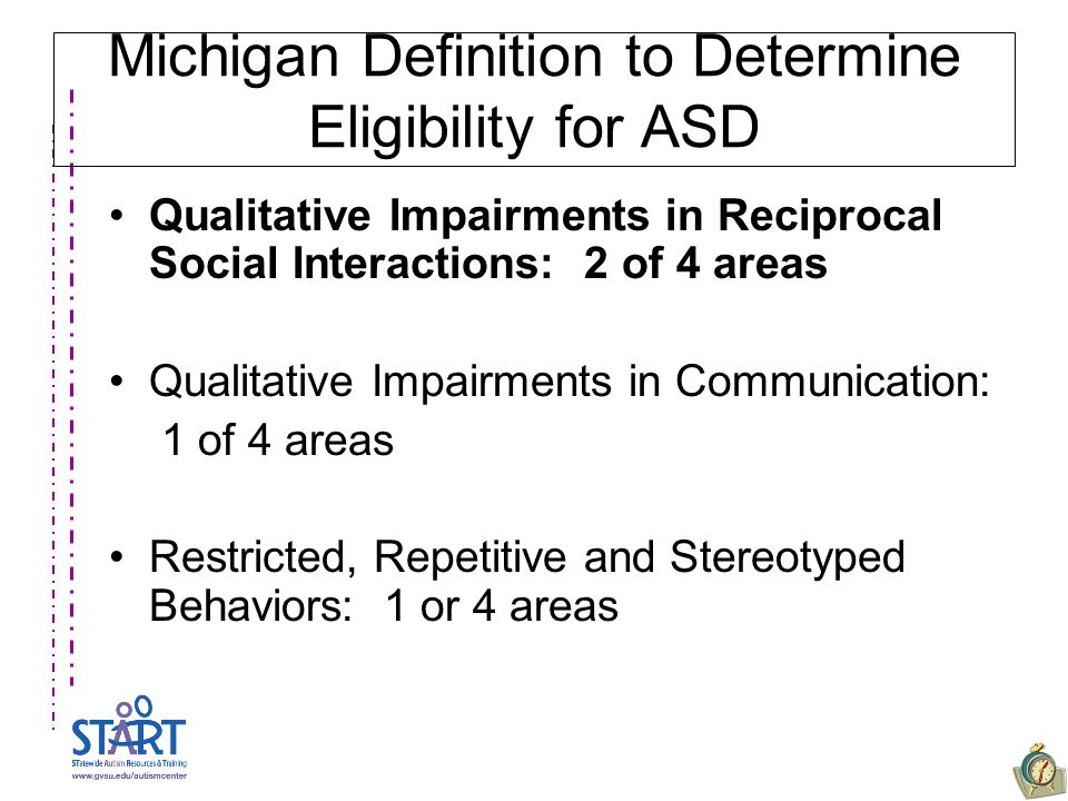 Michigan Definition to Determine Eligibility for ASD Qualitative Impairments in Reciprocal Social Interactions: 2 of 4 areas Qualitative Impairments i