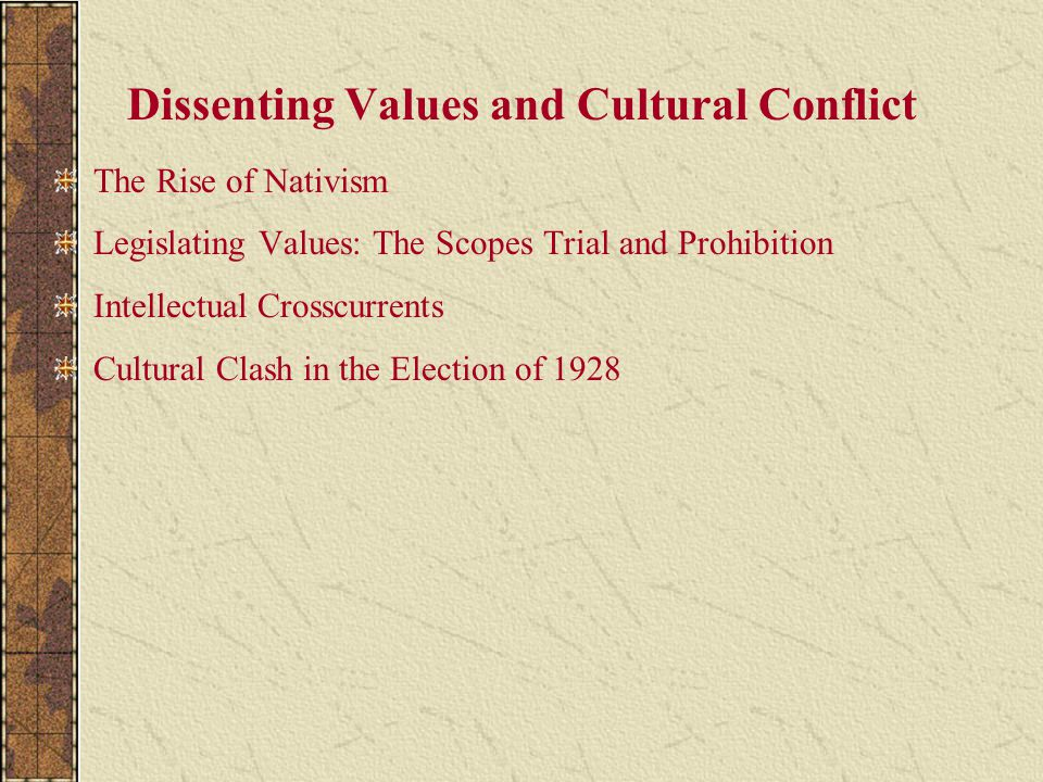 Dissenting Values and Cultural Conflict The Rise of Nativism Legislating Values: The Scopes Trial and Prohibition Intellectual Crosscurrents Cultural Clash in the Election of 1928