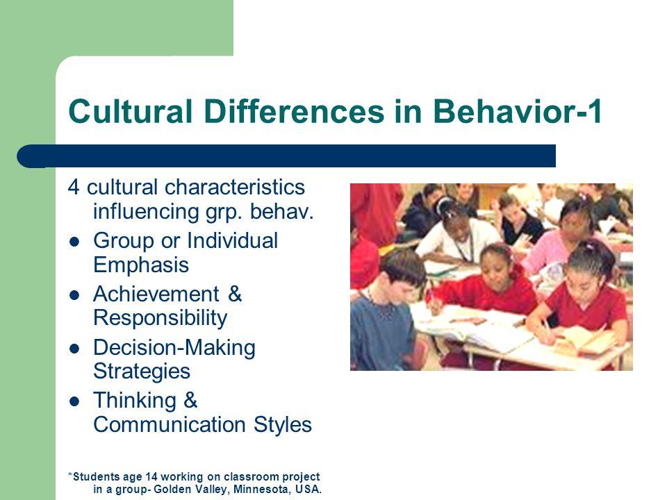 Cultural Differences in Behavior- 2 Euro- North American 1.