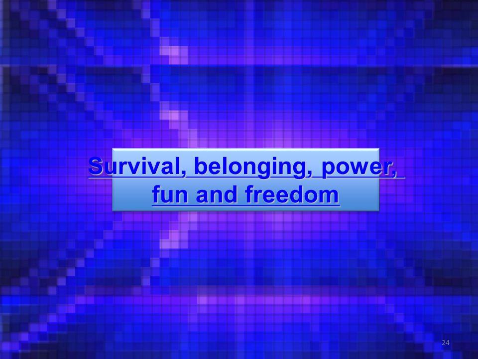 24 Survival, belonging, power, Survival, belonging, power, fun and freedom fun and freedom Survival, belonging, power, Survival, belonging, power, fun and freedom fun and freedom