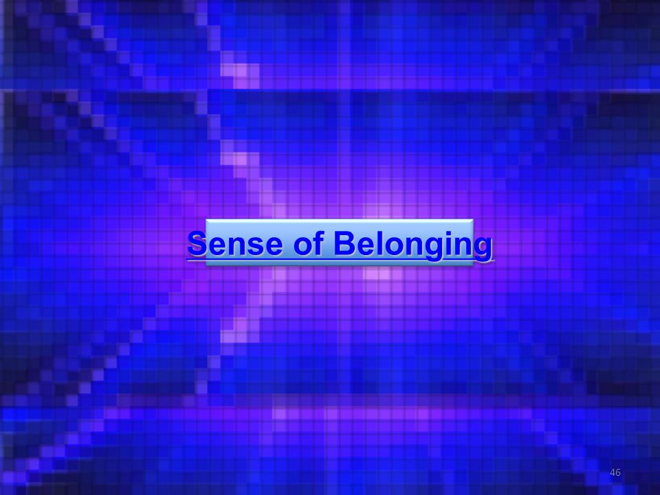 46 Sense of Belonging Sense of Belonging Sense of Belonging Sense of Belonging