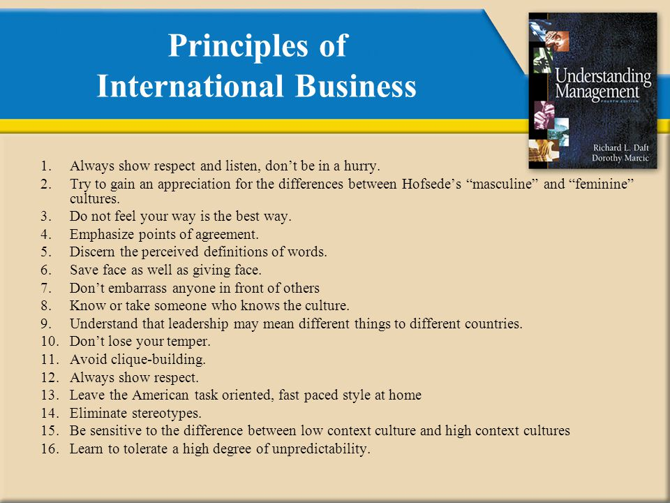 Principles of International Business 1.Always show respect and listen, don't be in a hurry.