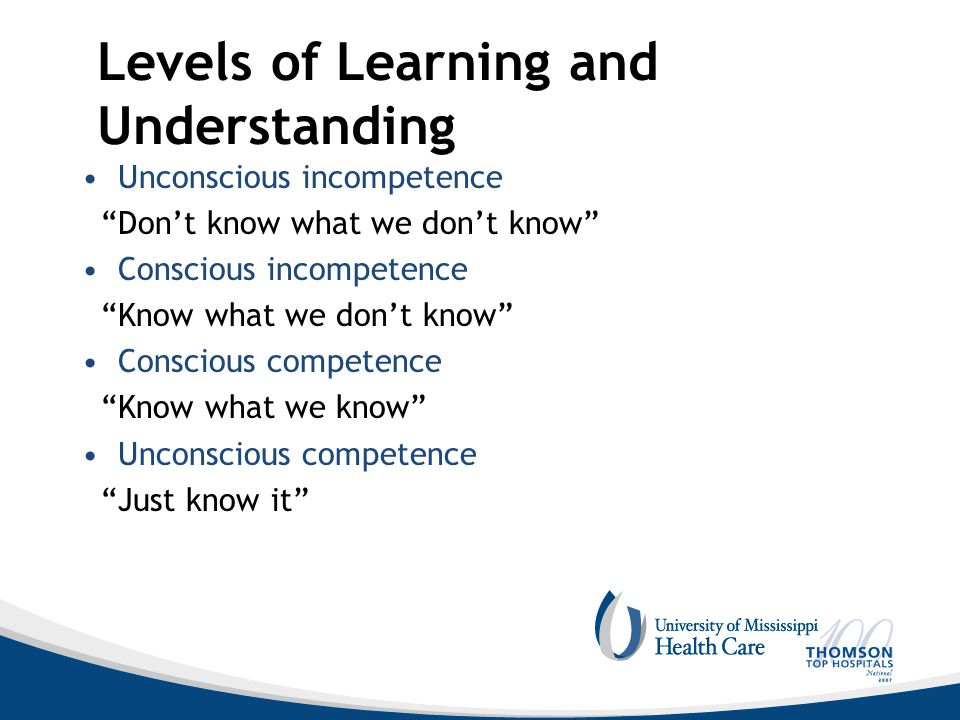 Levels of Learning and Understanding Unconscious incompetence Don't know what we don't know Conscious incompetence Know what we don't know Conscious competence Know what we know Unconscious competence Just know it