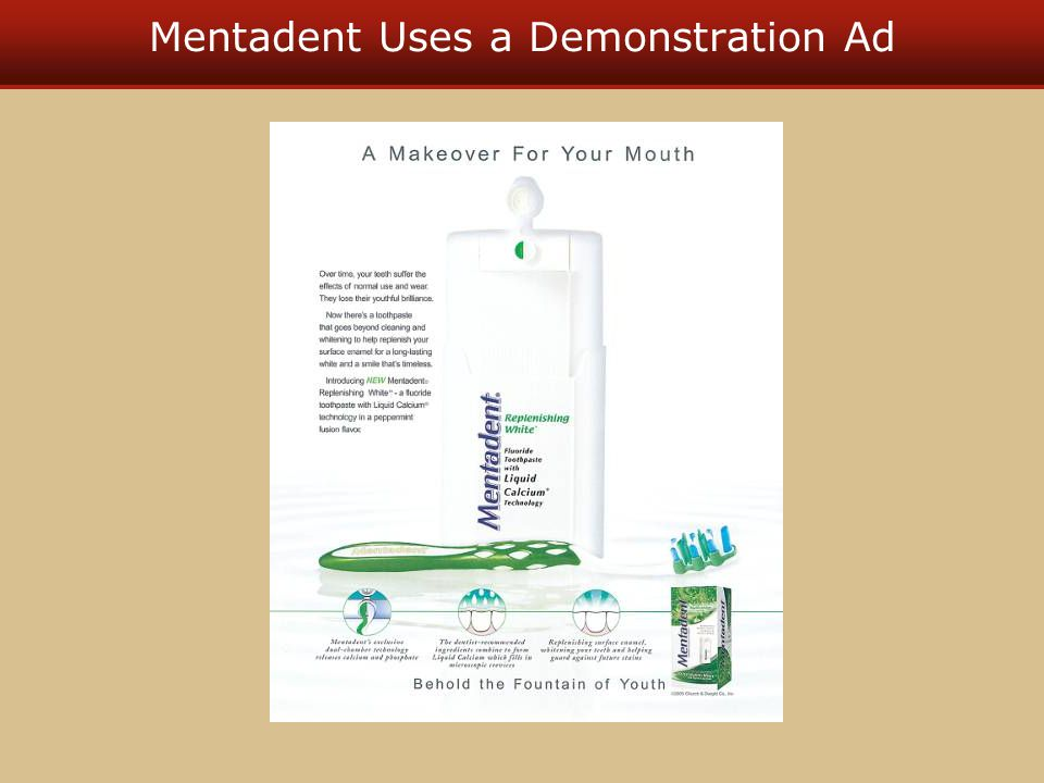 Mentadent Uses a Demonstration Ad