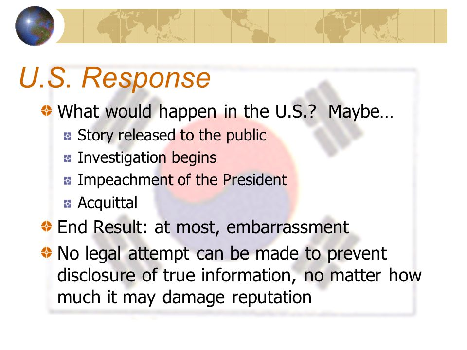 U.S. Response What would happen in the U.S.? Maybe… Story released to the public Investigation begins Impeachment of the President Acquittal End Resul