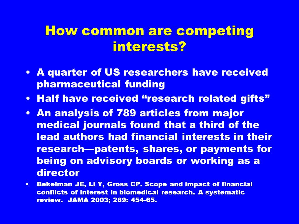 How common are competing interests.