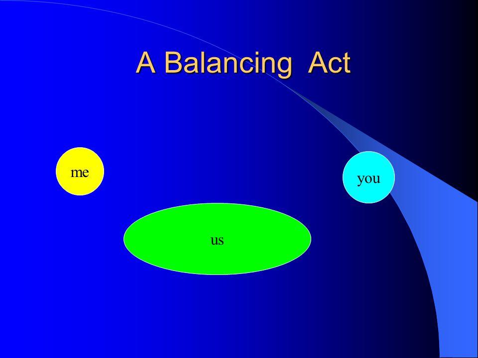 A Balancing Act A Balancing Act me you us