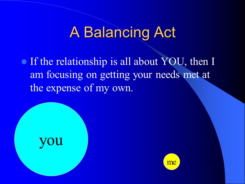A Balancing Act If the relationship is all about YOU, then I am focusing on getting your needs met at the expense of my own.