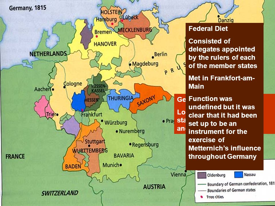 Germanic Confederation Loose confederation of 38 states (including Prussia and Austria) Federal Diet Consisted of delegates appointed by the rulers of each of the member states Met in Frankfort-am- Main Function was undefined but it was clear that it had been set up to be an instrument for the exercise of Metternich's influence throughout Germany