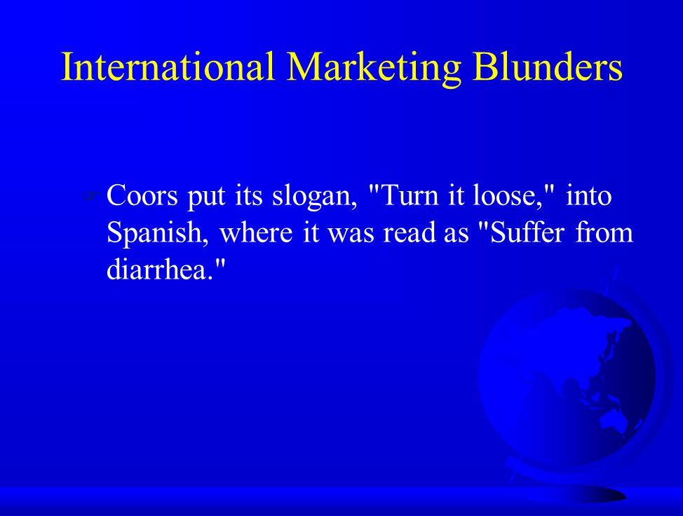 International Marketing Blunders F Coors put its slogan,