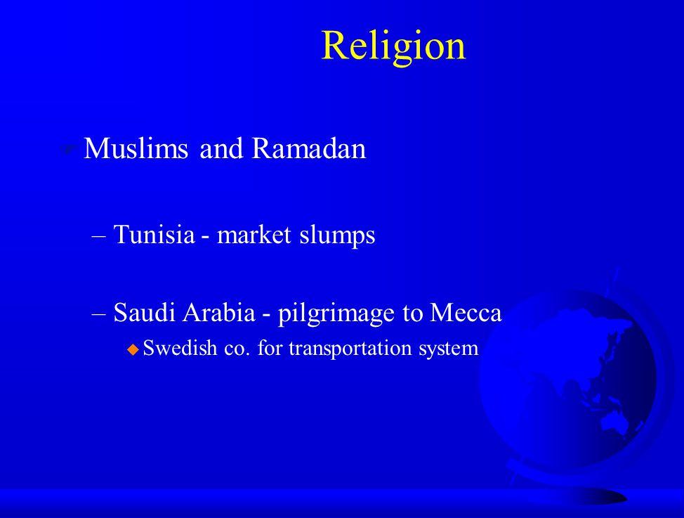 Religion F Muslims and Ramadan –Tunisia - market slumps –Saudi Arabia - pilgrimage to Mecca u Swedish co. for transportation system
