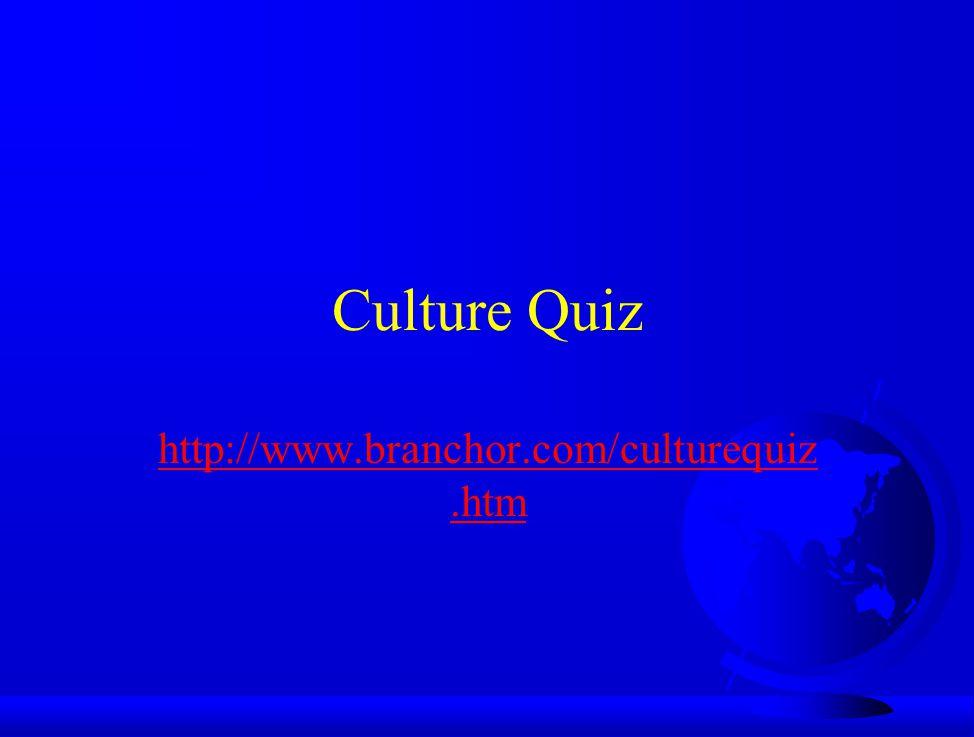 Culture Quiz http://www.branchor.com/culturequiz.htm