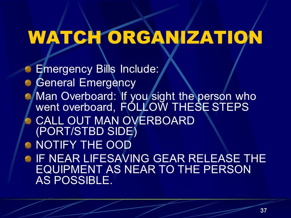 36 WATCH ORGANIZATION The Watch Quarter and Station bill is the CO's summary of personnel duty assignments.