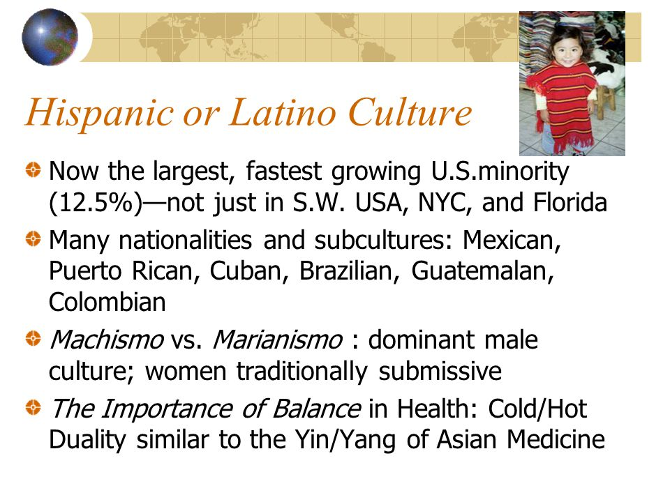 Hispanic or Latino Culture Now the largest, fastest growing U.S.minority (12.5%)—not just in S.W. USA, NYC, and Florida Many nationalities and subcult