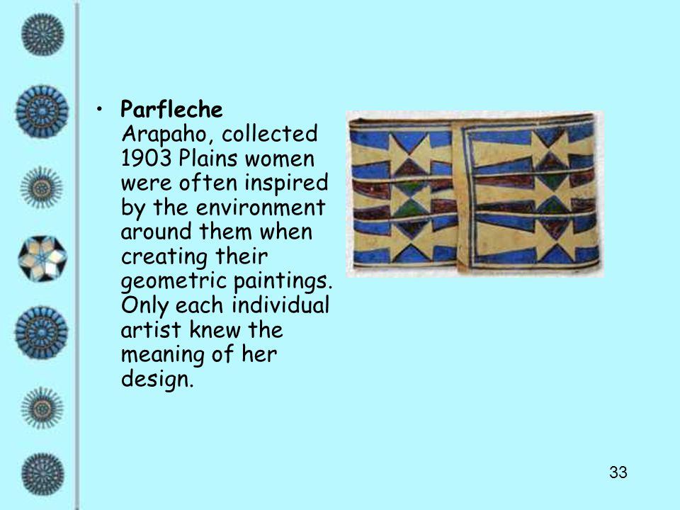 33 Parfleche Arapaho, collected 1903 Plains women were often inspired by the environment around them when creating their geometric paintings. Only eac