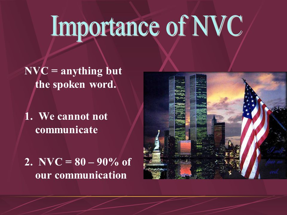 Importance of NVC Functions The 6 'Ics'