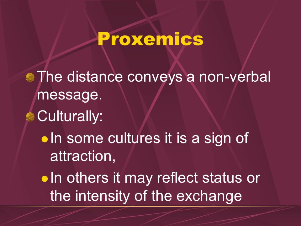 PROXEMICS: Interpersonal Attitude & Physical Contact Convey Attitude: Hostile vs Friendly Physical Contact: Shaking hands, touching, holding, embracin