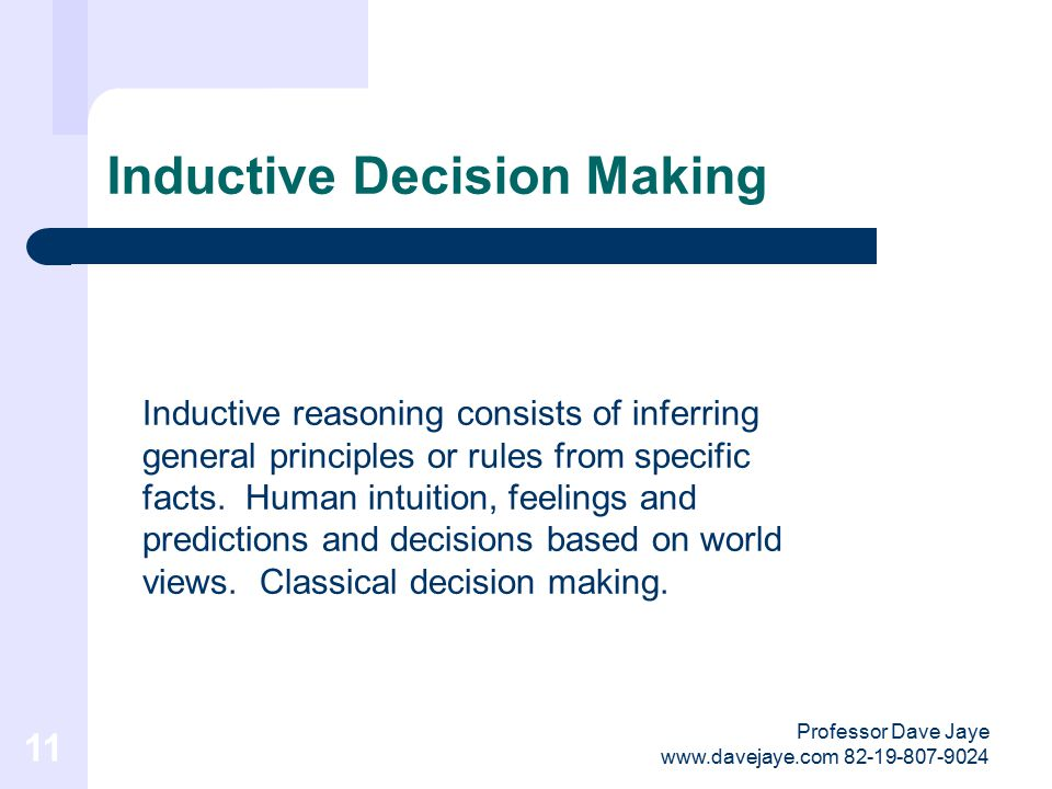 Professor Dave Jaye www.davejaye.com 82-19-807-9024 10 Deductive Decision Making Deductive is evidence based decision making relating to logical deduction based on a factual decision process.