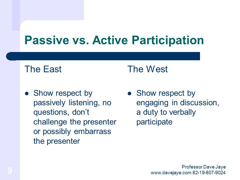 Professor Dave Jaye www.davejaye.com 82-19-807-9024 9 Passive vs.