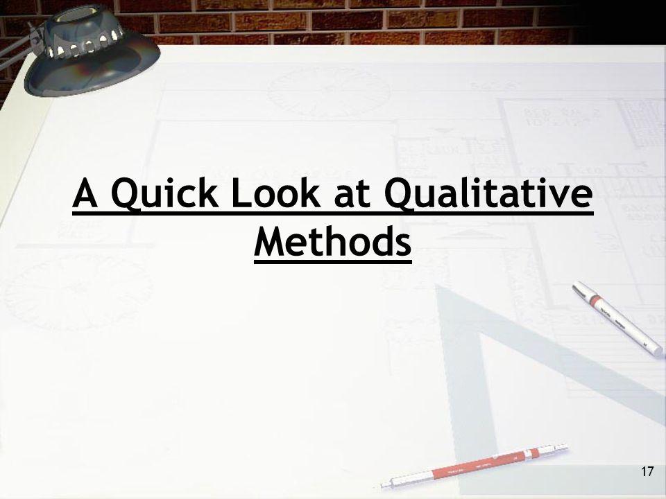 17 A Quick Look at Qualitative Methods