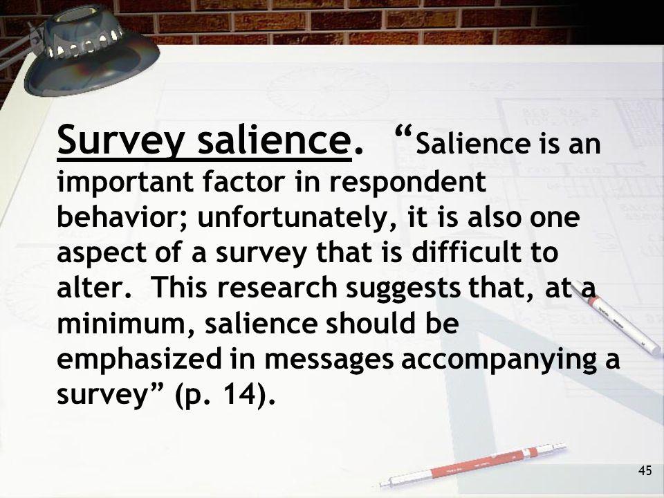 45 Survey salience.
