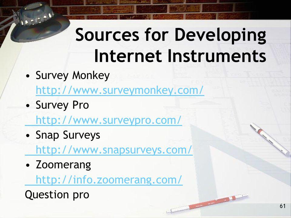 61 Sources for Developing Internet Instruments Survey Monkey http://www.surveymonkey.com/ Survey Pro http://www.surveypro.com/ Snap Surveys http://www.snapsurveys.com/ Zoomerang http://info.zoomerang.com/ Question pro
