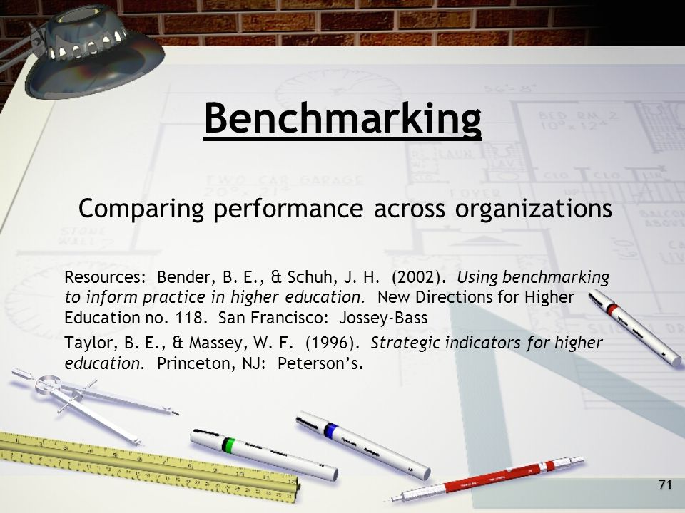 71 Benchmarking Comparing performance across organizations Resources: Bender, B.