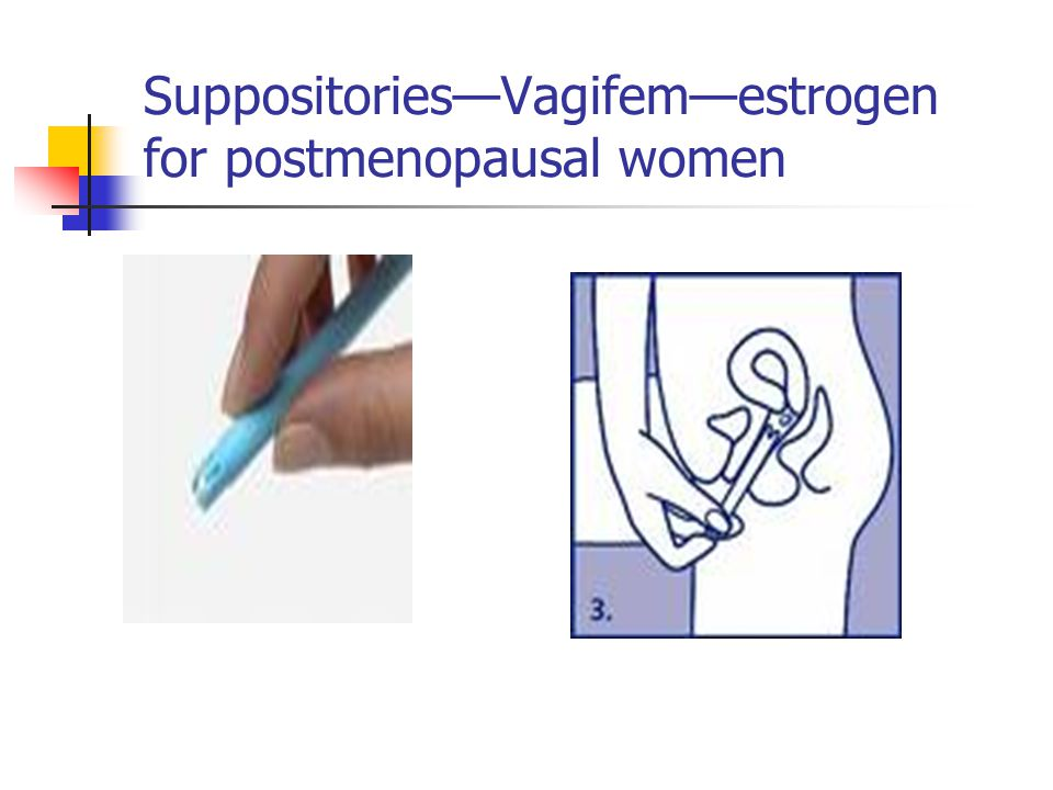 Suppositories—Vagifem—estrogen for postmenopausal women