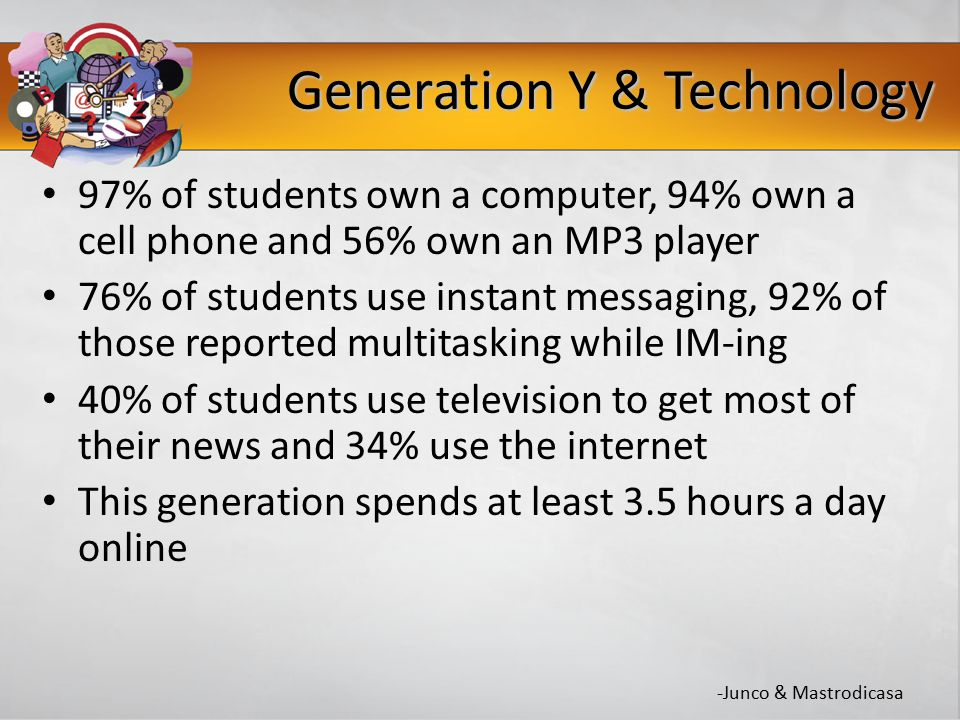 Generation Y & Technology 97% of students own a computer, 94% own a cell phone and 56% own an MP3 player 76% of students use instant messaging, 92% of those reported multitasking while IM-ing 40% of students use television to get most of their news and 34% use the internet This generation spends at least 3.5 hours a day online -Junco & Mastrodicasa